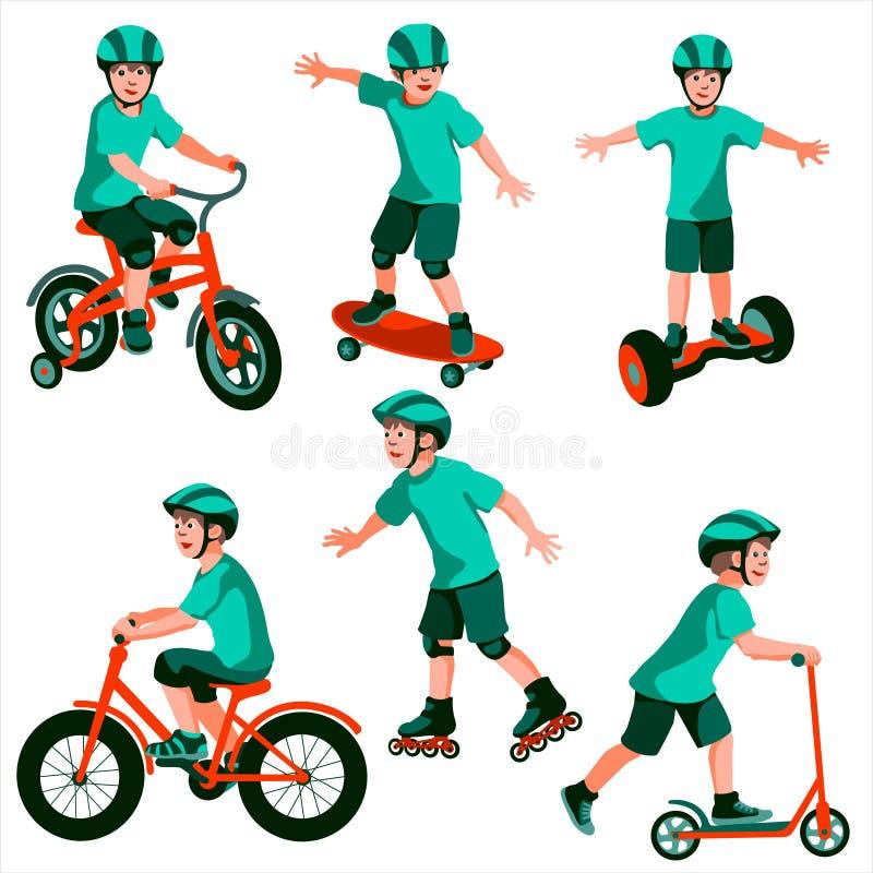 Figuras de muchachos que montan y scating stock de ilustración