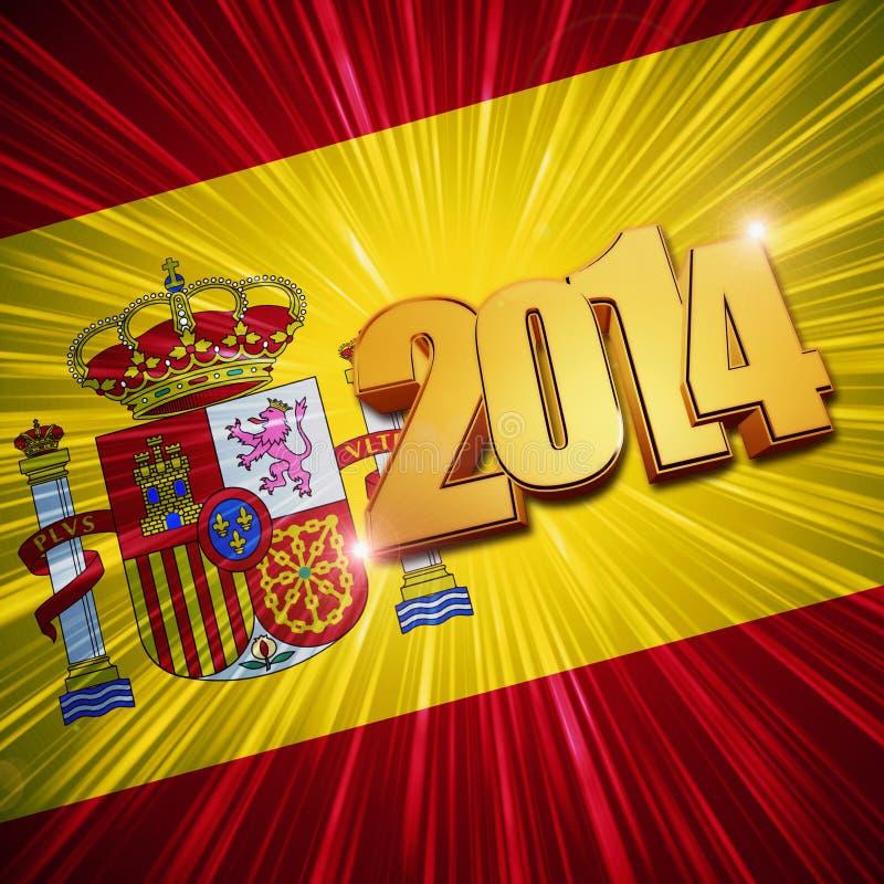 Figuras de oro del Año Nuevo 2014 sobre bandera española brillante ilustración del vector