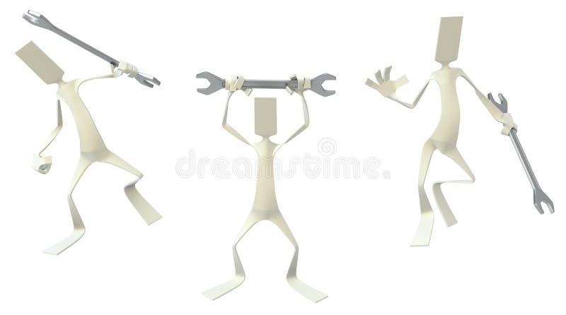 Figuras de papel de los hombres, llave inglesa stock de ilustración