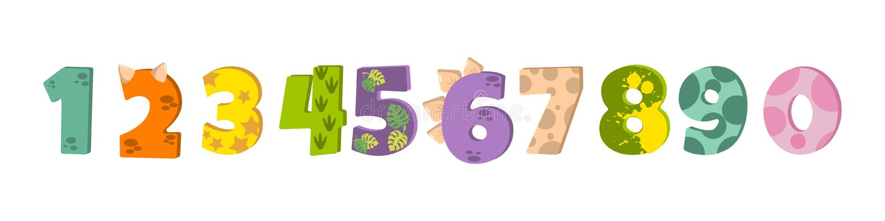 Figuras del dinosaurio para diseñar el cumpleaños o la invitación del partido de Dino, tarjeta de felicitación, etiqueta engomada stock de ilustración