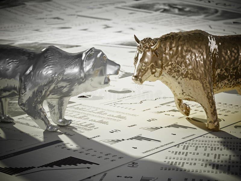 Figuras del oso y del toro en las páginas del periódico de la economía ilustración 3D libre illustration