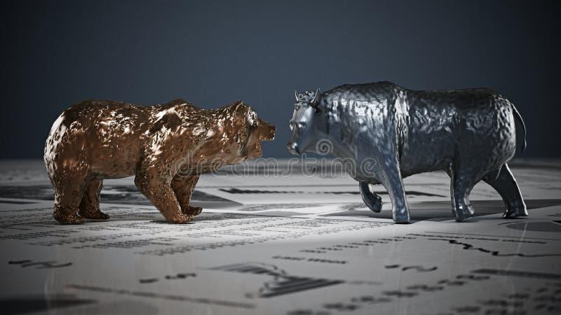 Figuras del oso y del toro en las páginas del periódico de la economía ilustración 3D ilustración del vector