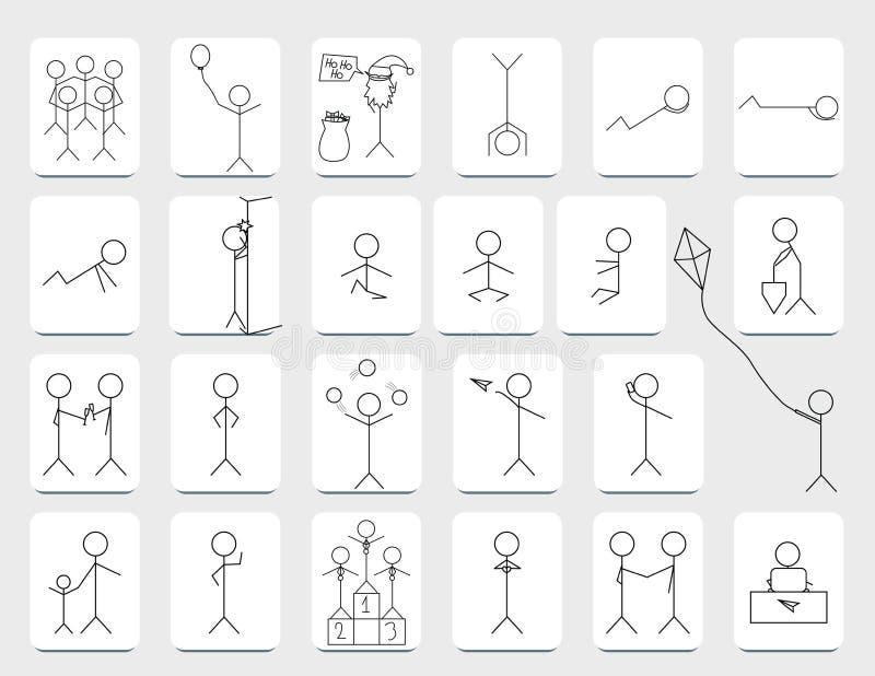 Figuras del palillo de Stickman fijadas ilustración del vector