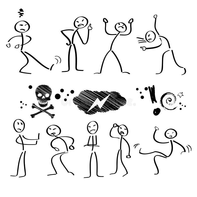 Figuras del palillo, emociones stock de ilustración
