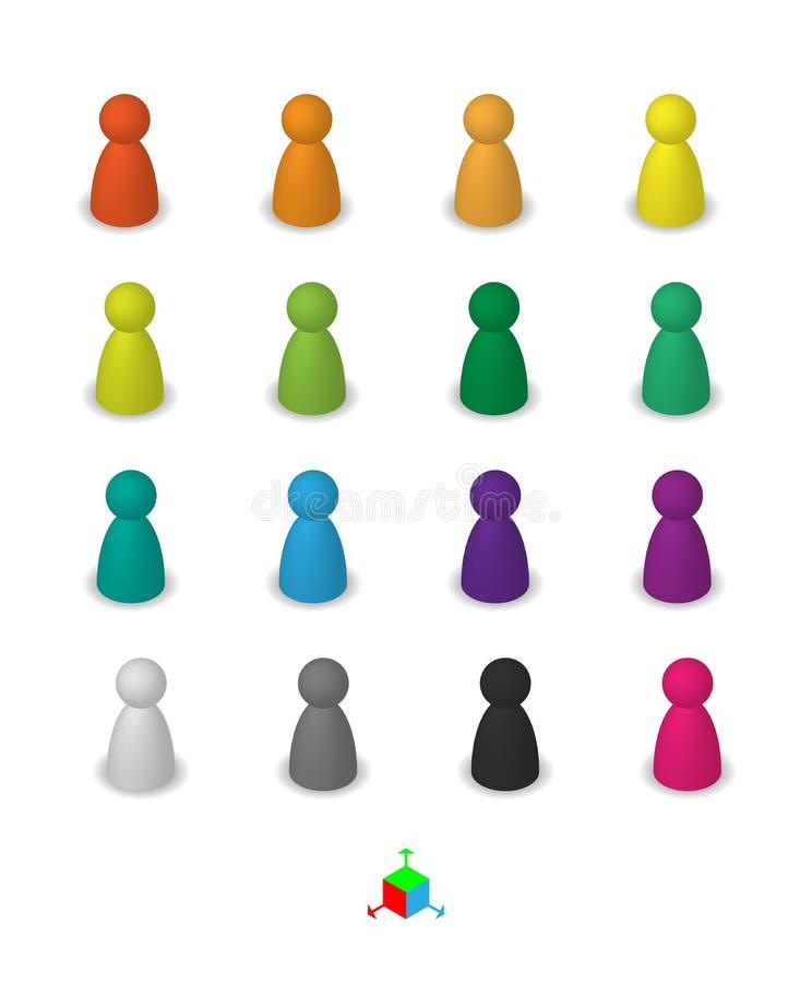 Figuras diferentes do penhor do jogo do lazer ilustração stock