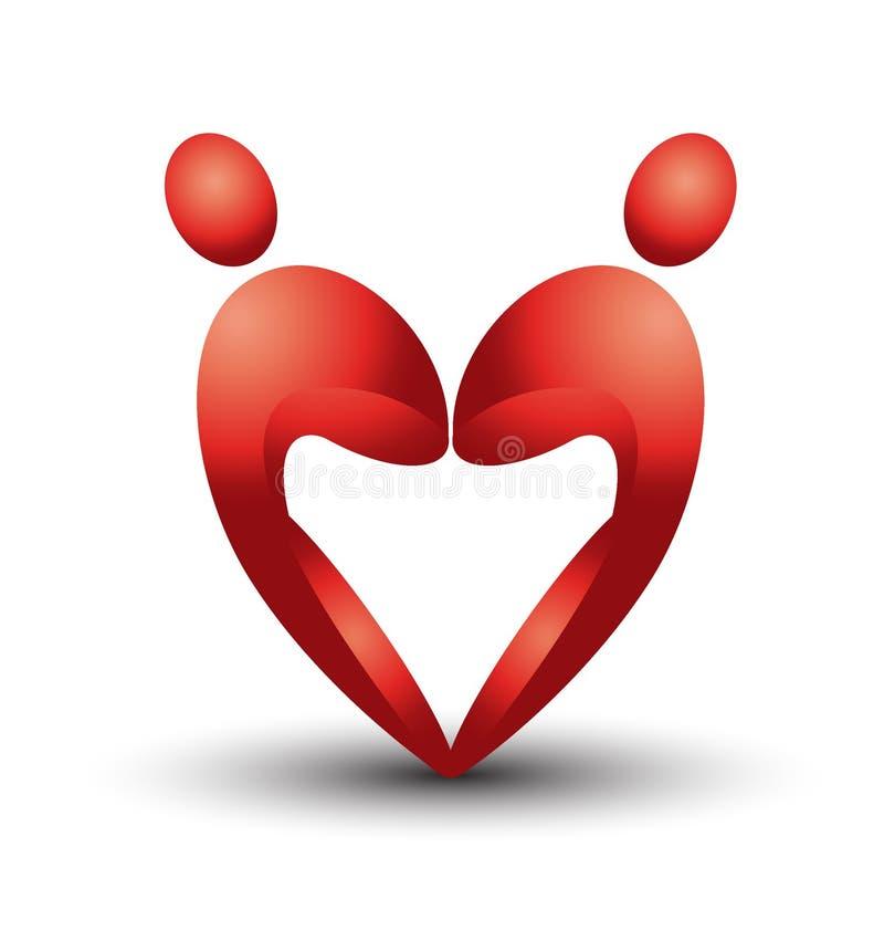 Figuras do coração em 3D ilustração royalty free