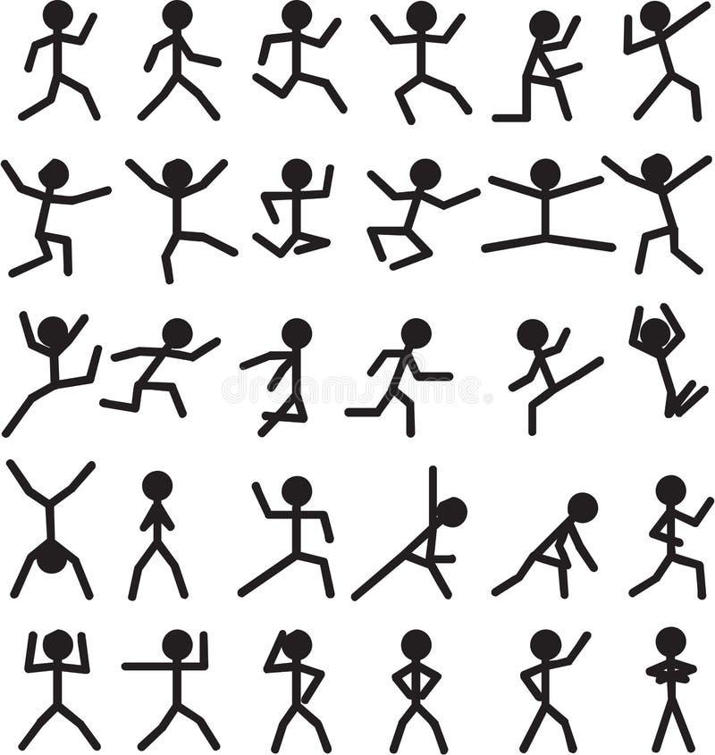Figuras do homem da vara ilustração royalty free