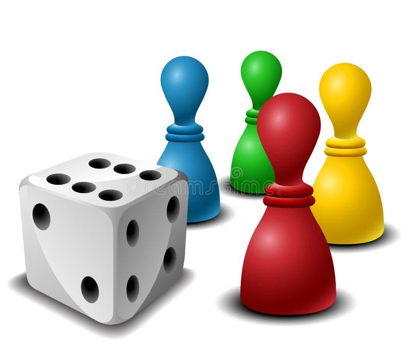 Figuras do jogo de mesa com dados imagem de stock royalty free