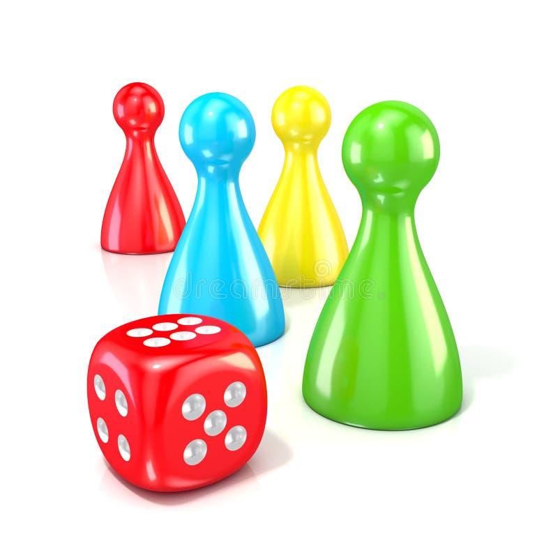 Figuras do jogo de mesa com dados vermelhos 3d rendem ilustração do vetor