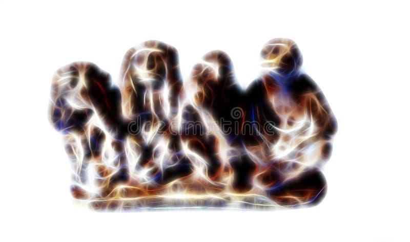 Figuras do macaco que descrevem a sabedoria de Budha - os macacos sábios efeito do fractal fotos de stock