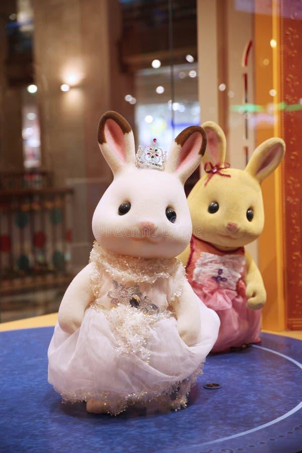 Figuras dos coelhos dos desenhos animados imagens de stock