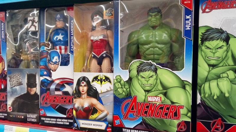 Figuras dos heróis da maravilha imagem de stock