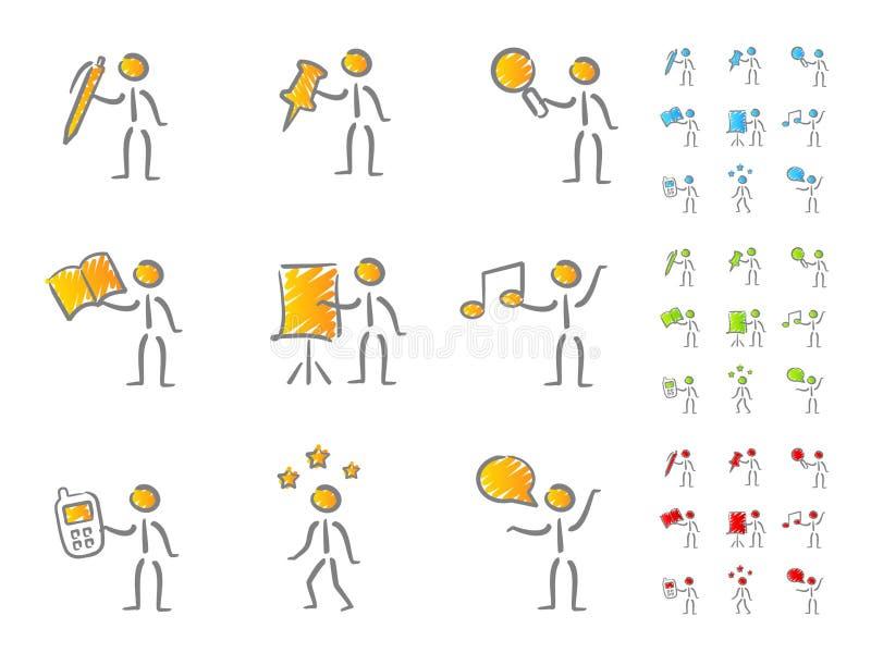 Figuras dos povos com scribble dos atributos ilustração royalty free