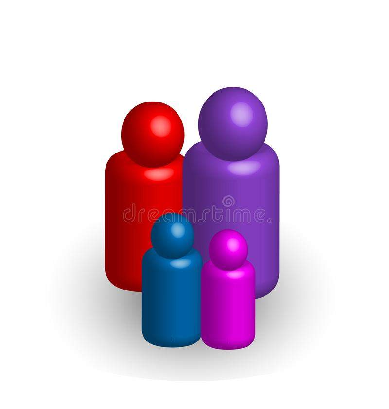 figuras dos povos da família 3d, vetor do ícone ilustração stock