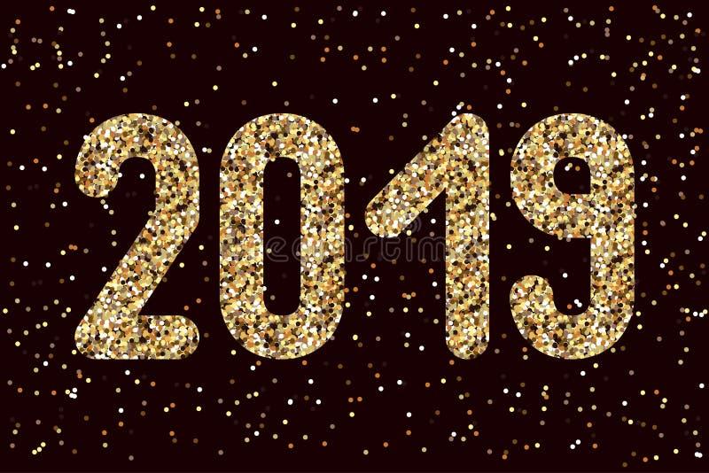 2019 figuras dos sparkles do ouro Para convites do Natal, bandeiras, preços, cartazes Fundo escuro com sparkles ilustração stock