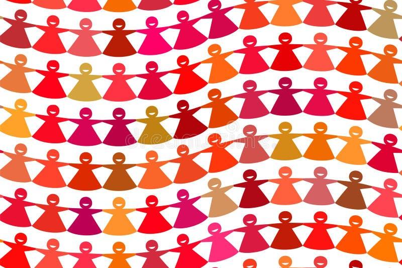 Figuras fêmeas curvadas papel cortadas coloridos brilhantes da corrente ilustração do vetor