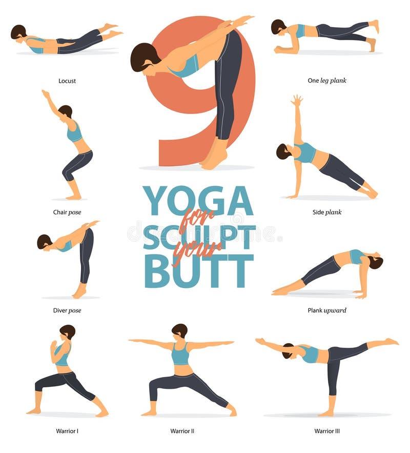 Figuras femeninas Infographic de las posturas de la yoga 6 actitudes de la yoga para Sculpt su extremo en diseño plano Ilustraci? ilustración del vector