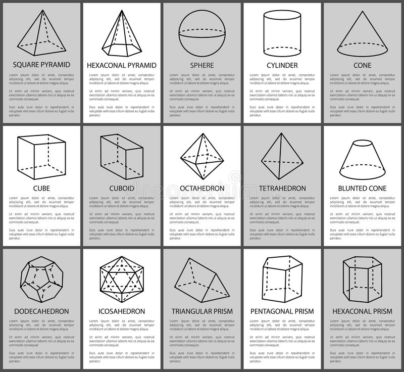 Figuras fijadas, esfera y cono, cubo y Cuboid ilustración del vector