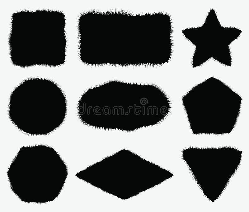 Figuras geométricas com bordas irregulares ou peludos Vagabundos abstratos do grunge ilustração do vetor