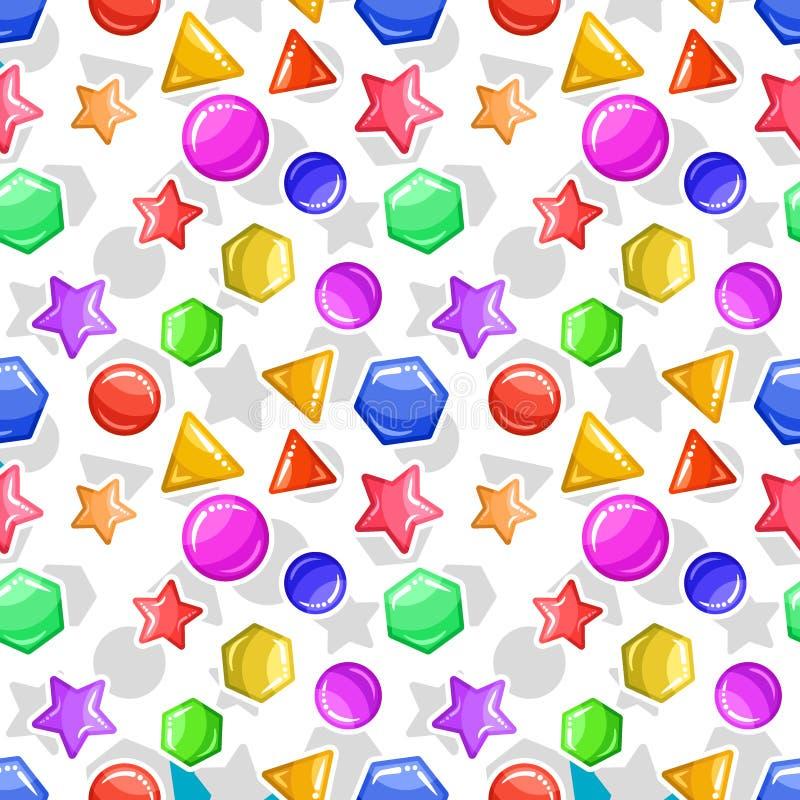 Figuras geométricas da geleia ou do caramelo - teste padrão sem emenda do fundo ilustração royalty free