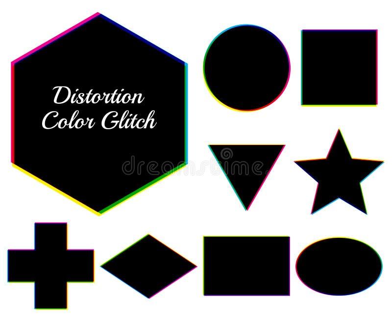 Figuras geométricas escuras com pulso aleatório da cor da distorção Grupo de vect ilustração do vetor