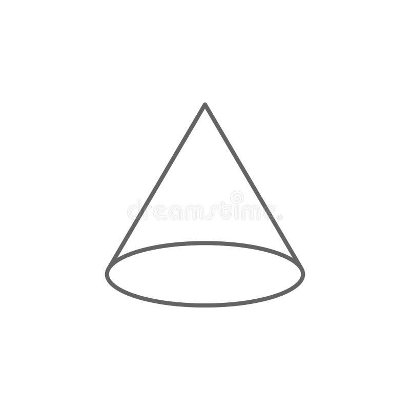 Figuras geométricas, icono del esquema del cono Elementos de las figuras geom?tricas icono del ejemplo Las muestras y los s?mbolo ilustración del vector