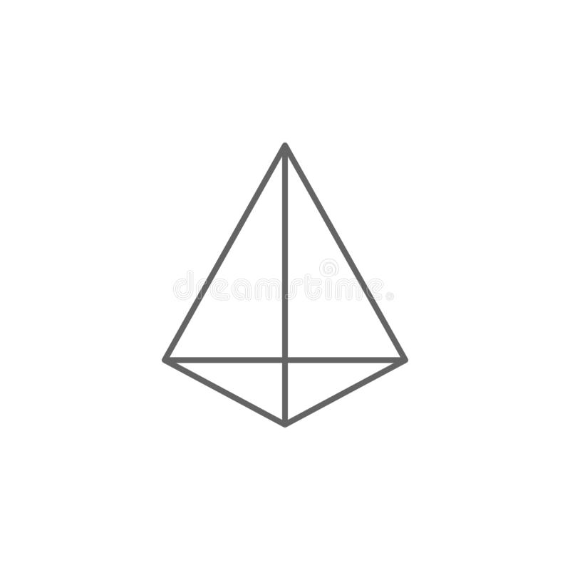 Figuras geométricas, icono triangular del esquema de la pirámide Elementos de las figuras geom?tricas icono del ejemplo Las muest stock de ilustración