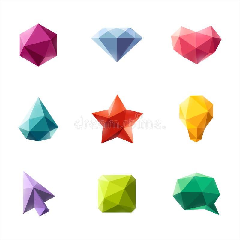 Figuras geométricas poligonais. Grupo de elementos do projeto ilustração do vetor