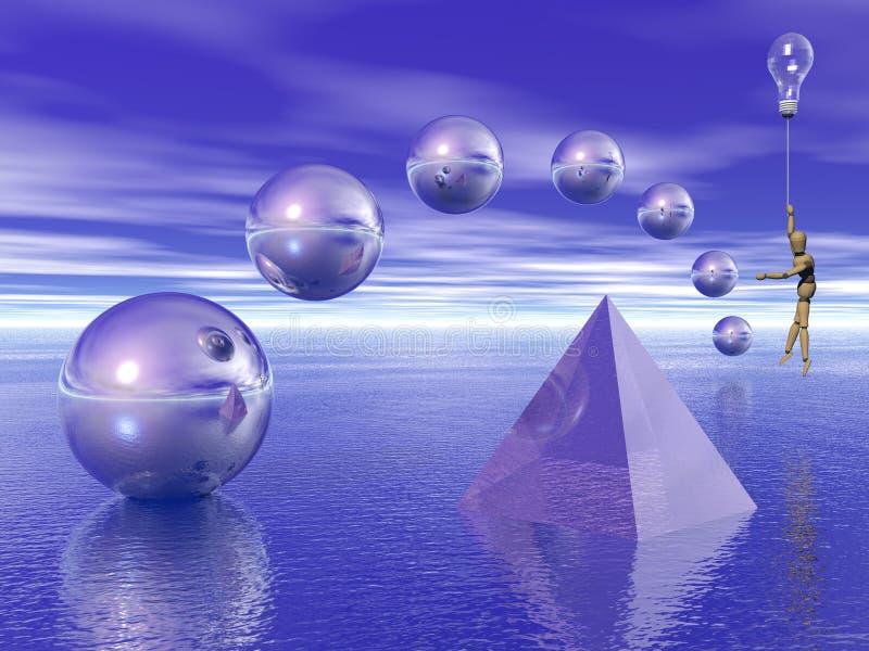 Figuras geométricas superfície à superfície da àgua ilustração stock