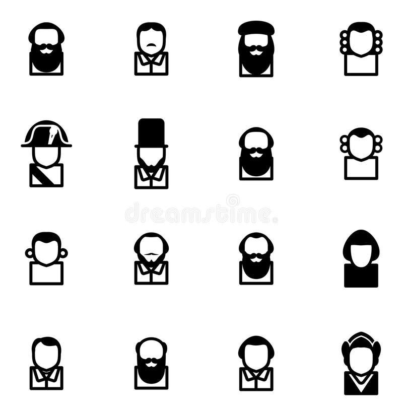 Figuras históricas dos ícones do Avatar ilustração do vetor