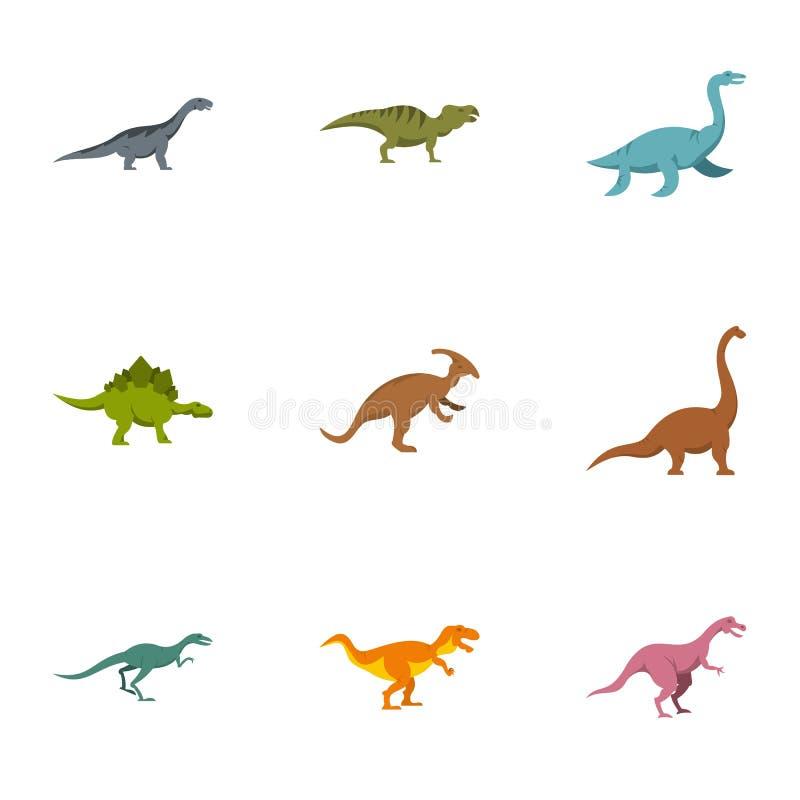 Figuras iconos fijados, estilo plano del dinosaurio stock de ilustración