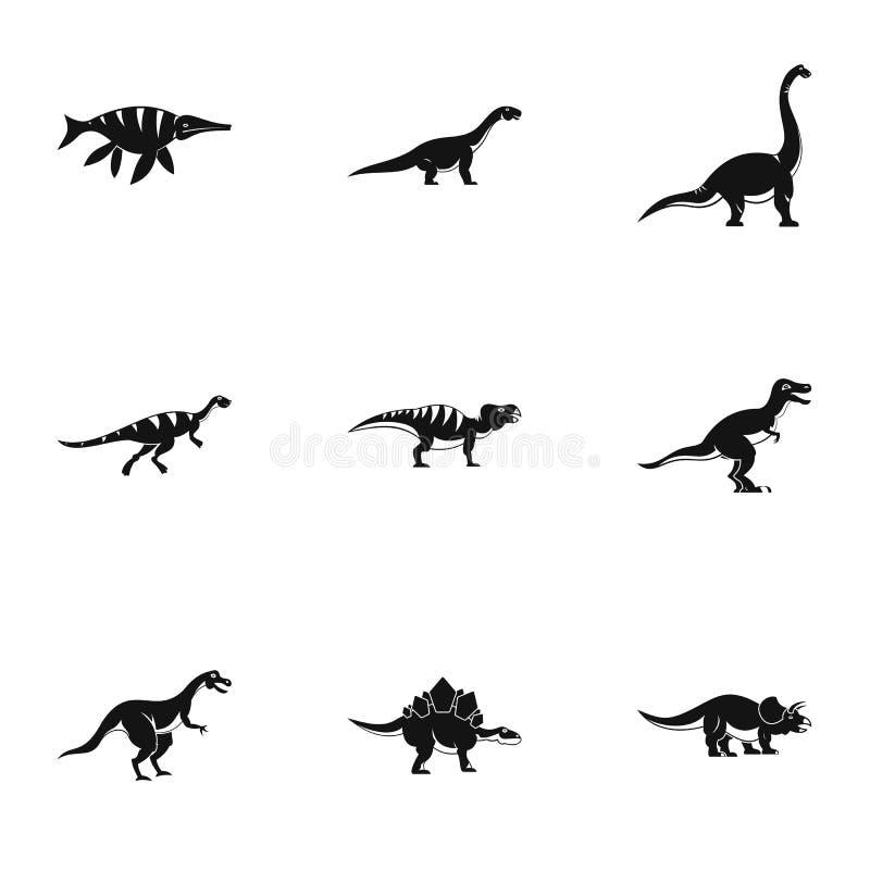 Figuras iconos fijados, estilo simple del dinosaurio stock de ilustración