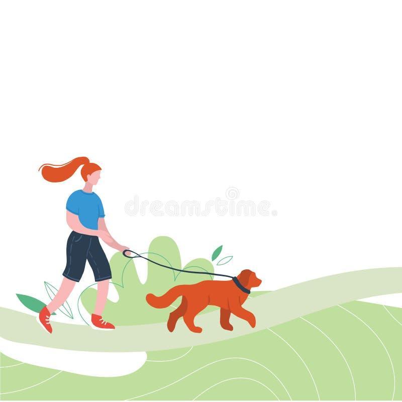 Figuras lisas da mulher que wolking fora com c?o Atividades ao ar livre Povos que relaxam na natureza em um parque urbano bonito ilustração stock