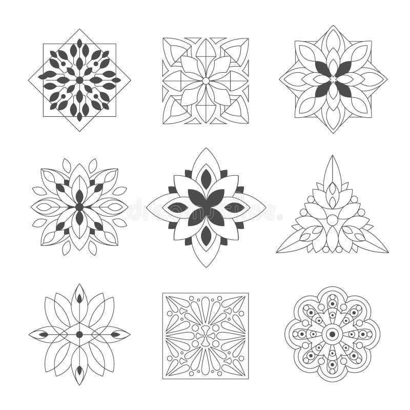 Figuras ornamentales del garabato regular de la forma en negro en el color blanco para Zen Adult Coloring Book Set de ejemplos ilustración del vector