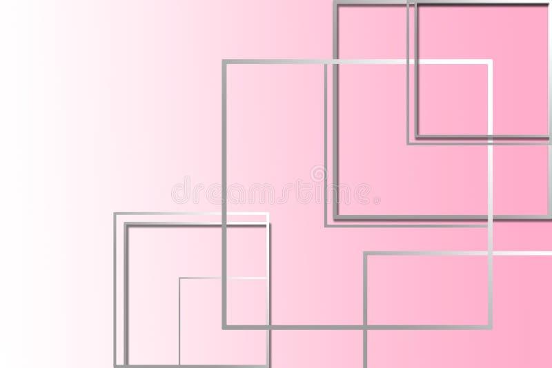 figuras quadradas Multi-coloridas em um fundo cor-de-rosa com um lugar sob o texto ilustração royalty free