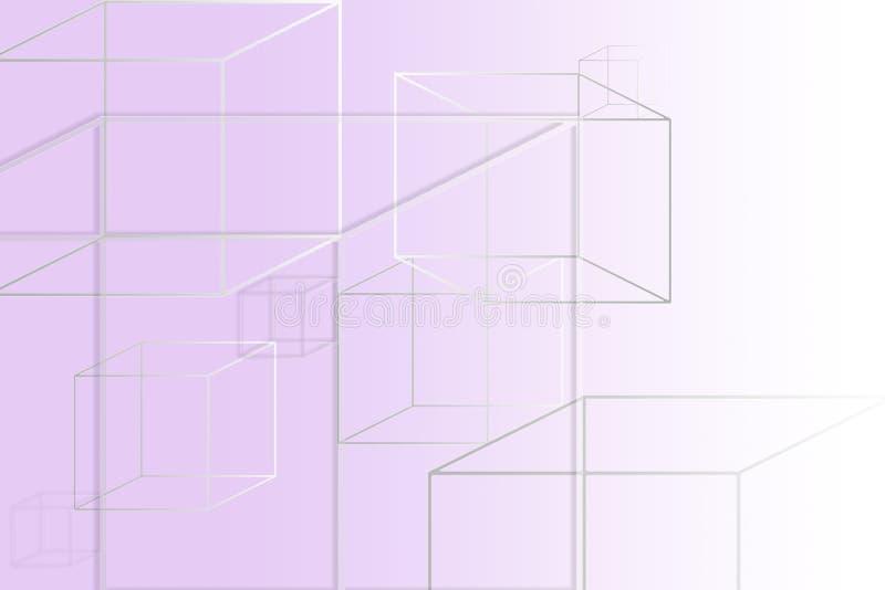 figuras quadradas Multi-coloridas em um fundo roxo com um lugar sob o texto ilustração do vetor
