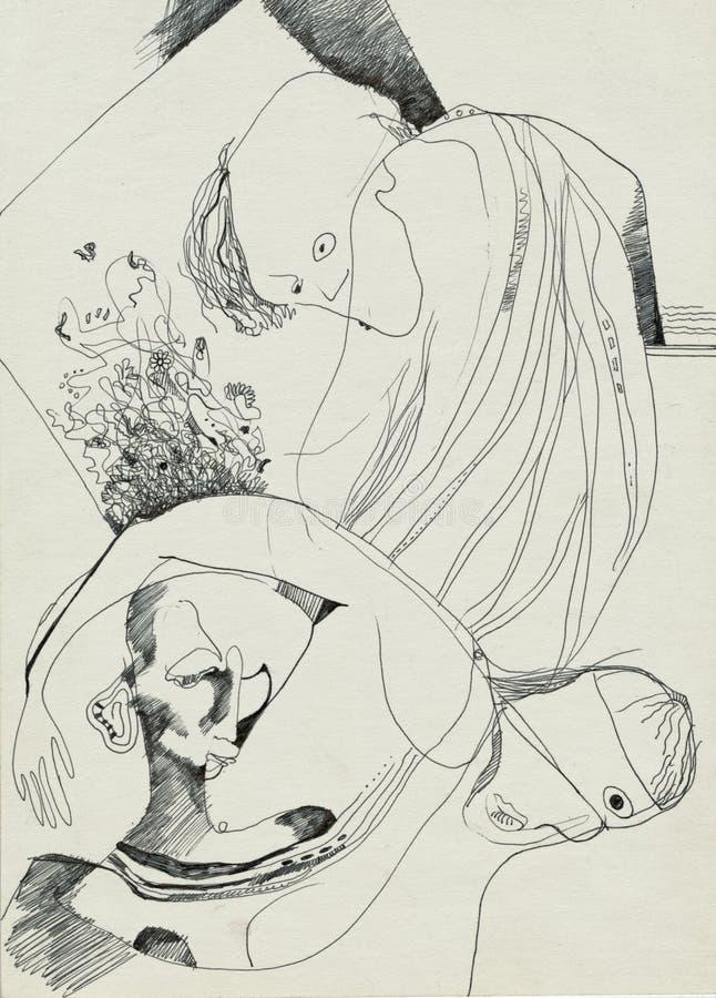 Figuras surrealistas, hombres griegos stock de ilustración