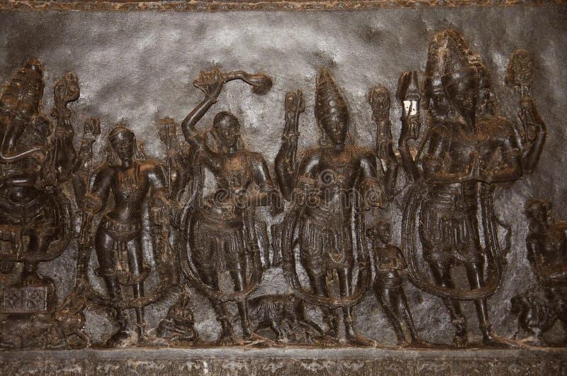 Figuras talladas, templo de Ramappa, Warangal, estado de Telangana de la India foto de archivo libre de regalías