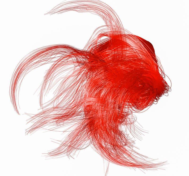 Figure abstraite rouge des fibres sur un blanc rendu 3d illustration libre de droits