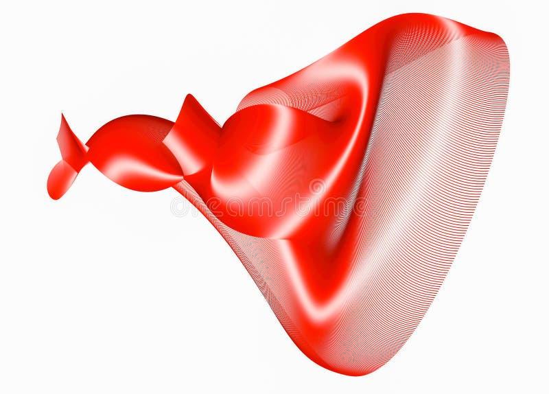 Figure abstraite rouge des fibres sur un blanc rendu 3d illustration de vecteur