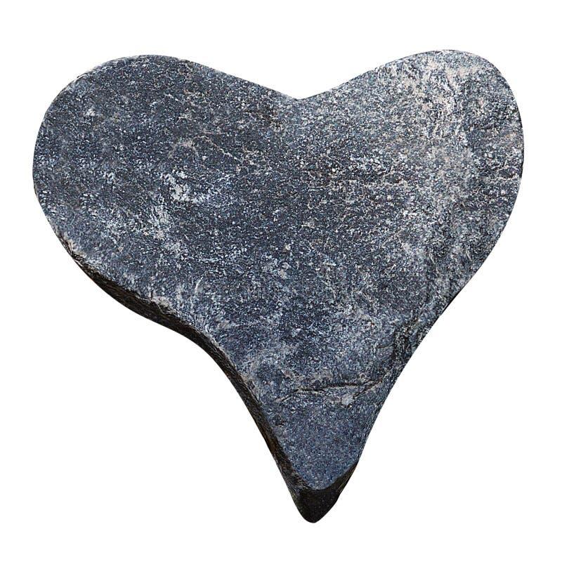 Figure approximative d'un coeur fait en pierre grise de caillou d'isolement sur le plan rapproché blanc de fond images libres de droits
