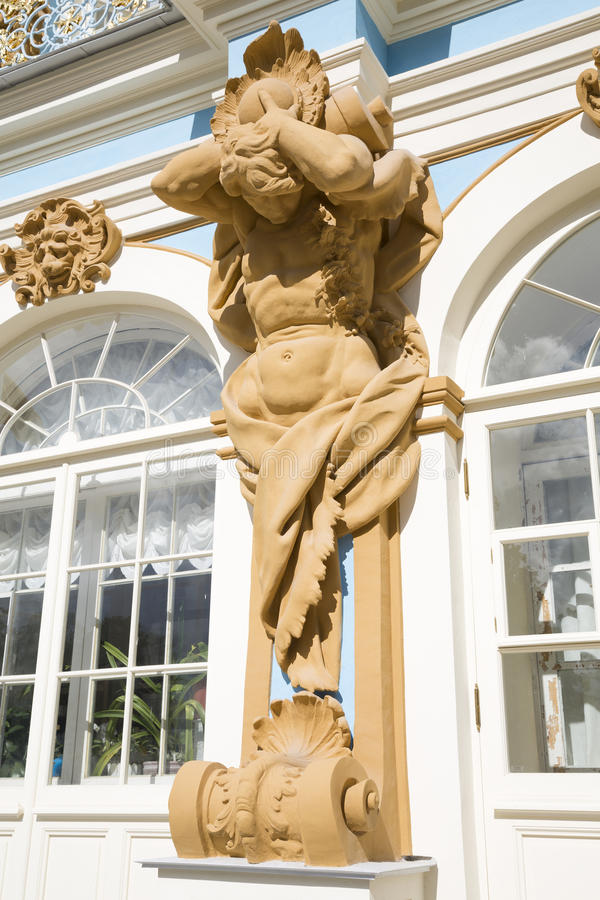 The figure of Atlant on the facade of the Catherine Palace in Tsarskoye Selo. Saint-Petersburg, Russia royalty free stock photos