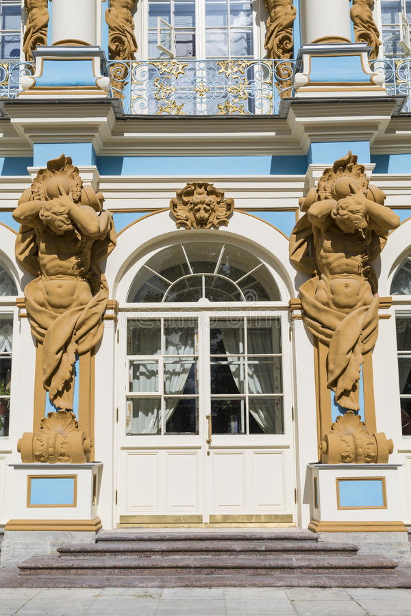 The figure of Atlant on the facade of the Catherine Palace in Tsarskoye Selo. St. Petersburg royalty free stock images