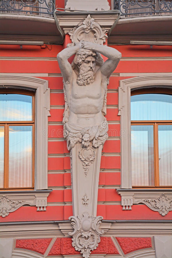 Figure of Atlases Palace of princes Beloselsky - Belozersky in Saint Petersburg, Russia royalty free stock photos