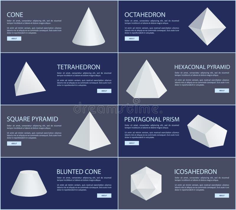 Figure bianche gruppo del tetraedro e dell'ottaedro illustrazione di stock