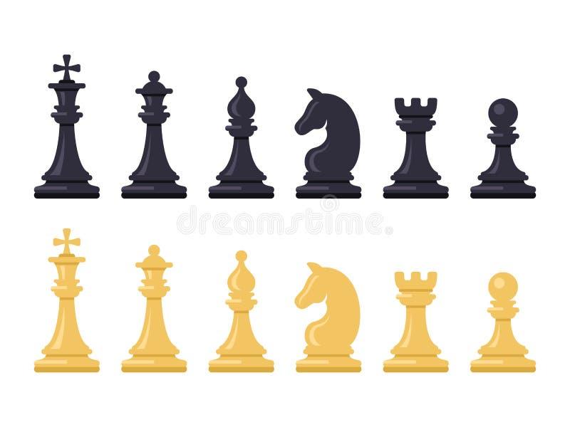 Figure in bianco e nero del gioco di scacchi Vettore royalty illustrazione gratis