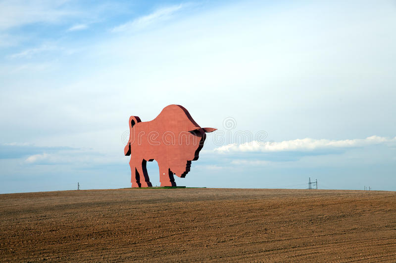 The figure of Bison (Zubr) on route from Minsk to Brest royalty free stock photo