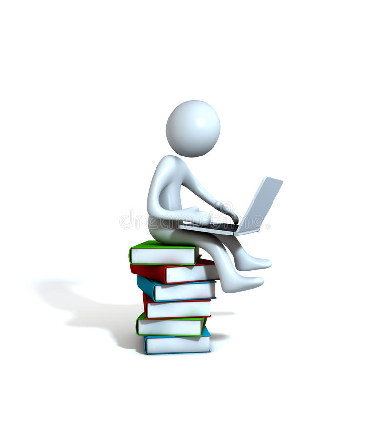 Figure on books with laptop stock illustration