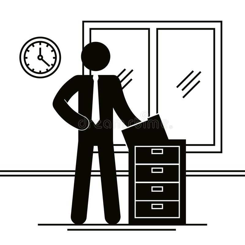 Figure businessman with drawer office avatar silhouette. Vector illustration vector illustration