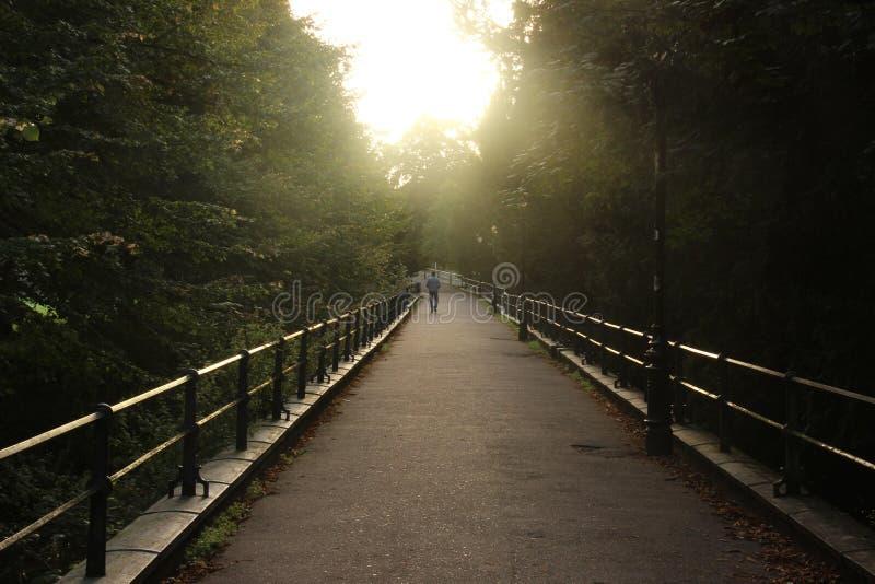 Figure caminar en la luz del sol, tomada en el amanecer en Cambridge imagen de archivo libre de regalías